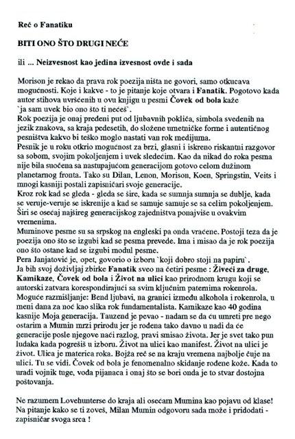 """Tekst koji je Peca Popović pripremio za promociju knjige """"Fanatik"""" u okviru izvođenja akcije """"Kako se ti zoveš?"""" u Paviljonu Veljković."""